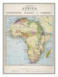 Mapa de África que ilustra viajes de Livingstone Stanley y Cameron Lámina giclée