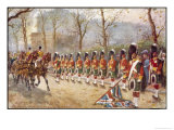 Detachment of Gordon Highlanders Dip the Colours to Passing Royalty Near Buckingham Palace Giclee Print by Harry Payne