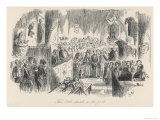 The Little Church in the Park Sunday Service with Lord and Lady Dedlock in the Great Pew Giclee Print by  Phiz