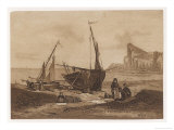 Shoreline Fishing Scene with Small Fishing Boats Beached on the Sand Giclee Print by Ponroy