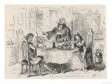 Simon Tappertit (Left) Joins Gabriel and Dolly Varden at the Breakfast Table Giclee Print by  Phiz