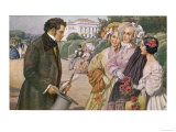 Franz Schubert Austrian Musician Meeting the Tscholl Girls in a Vienna Park Giclee Print