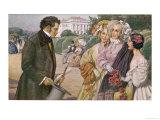 Franz Schubert Austrian Musician Meeting the Tscholl Girls in a Vienna Park Giclee Print