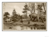 Dinosaur Models in the Grounds of the Crystal Palace Sydenham Giclee Print