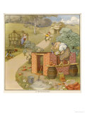 The Three Pigs Build Their Respective Houses out of Bricks Straw and Sticks Giclee Print