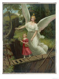 Guardian Angel Watches Over a Child as She Crosses a Dangerous Bridge Reproduction procédé giclée