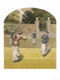 Game of Women&#39;s Doubles in a Country Garden Giclee Print