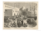 Pious Moslem Pilgrims in the Harbour at Algiers Make Their Way to the Vessels Giclee Print by Ange-Louis Janet