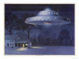 UFO with Classic Domed Disk and Four-Piece Landing Gear Giclee Print