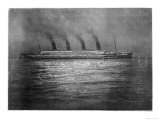 The Ss Titanic Seen at Night Whilst Visiting Cherbourg on the Evening of 10th April 1912 Giclee Print