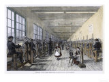 Men and Women at Work in the Patent Renewable Stocking Factory at Tewkesbury England Giclee Print