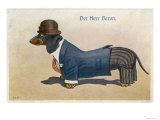 Dachshund Dressed as a Man Giclée-tryk