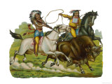 Native Americans Hunting Buffalo on Horseback Giclee Print