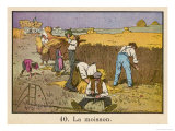 Barefoot and in Sabots French Farmhands Make Hay While the Sun Shines Giclee Print by H. Rappin