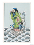 Liu Tong-Pin One of the Eight Immortals of the Chinese Pantheon Depicted Riding on a Kraken Giclee Print