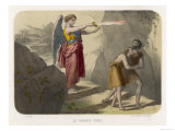 An Angel Brandishes Her Sword While She Watches Adam and Eve Slink out of Paradise Giclee Print