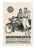 German Couple with Their Motorader Motor-Cycle and Sidecar Giclee Print