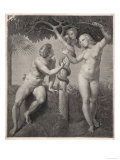 Adam and Eve Tempted Eve Invites Adam to Have a Fig from the Tree Giclee Print