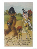 Teddy Bear Policeman Eyes Nurse, Who is Carrying Another Teddy Giclee Print