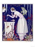 An Elegant Woman and Her Aquarium Giclee Print