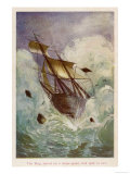 [The Mysterious Island: The Brig Raised on a Water-Spout Had Split in Two Giclee Print