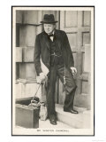 Winston Churchill British Statesman and Author Stands in a Doorway in 1940 Impression giclée