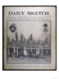 Headline Showing the Collision Between Emily Davison and the King's Horse at the Epsom Derby Giclee Print