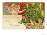 An Angel Lights the Candles on the Christmas Tree Giclee Print