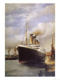 The Titanic Docked Before Her Disastrous Voyage Reproduction procédé giclée
