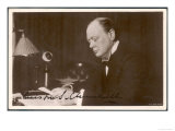 Winston Churchill British Statesman and Author Reading Correspondence at His Desk in 1933 Giclee Print