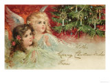Two Angels Admire the Decorated Tree Giclee Print