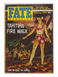 Native Woman of Tahiti Performing a Firewalk in Scanty Attire Giclee Print