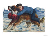 Saint Bernard Rescues a Boy from an Icy Death Giclee Print