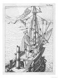 Amerigo Vespucci Italian Navigator Depicted on the Deck of His Ship Using Navigation Instrument Giclee Print