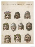 Classical Greek Actors' Masks Depicting Various Expressions and Emotions Premium Giclee Print