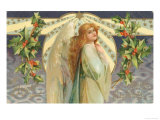 Christmas Angel with Holly Giclee Print