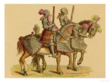Two Armed Warriors on Horseback: Their Horses Also Heavily Armoured 4 of 4 Giclee Print