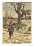 French Countryfolk Harvesting Mistletoe for the Christmas Market Giclee Print
