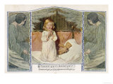 Two Angels Listen While a Child Kneels on Her Bed and Says Her Evening Prayers Giclee Print
