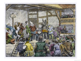 "Performance of Shakespeare's ""Midsummer Night's Dream"" in an Elizabethan Playhouse Giclee Print"