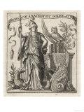 The Greek Goddess of Wisdom with Her Owl and a a Dragon Impression giclée
