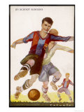 Boys Playing Football in Spanish Team Colours Reproduction procédé giclée
