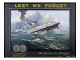 Lusitania Torpedoed by a German Submarine on Her Return Journey from New York to Liverpool Giclee Print