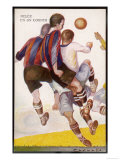 Group of Players Challenge for a Corner Ball in the Air Reproduction procédé giclée