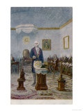 George Washington President of the USA Presides at the Altar of His Lodge Lmina gicle