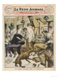 Rabid and Hydrophobic Dog Causes Chaos in a French Barbershop Giclee Print