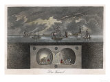 Brunel's Thames Tunnel, a Cross-Section Showing the Tunnel and Ships Sailing on the River Giclee Print