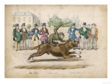 Group of Gentlemen Watch a Monkey Riding a Dog Giclee Print