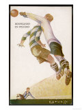 Goalkeeper Clears the Ball Away from the Striker&#39;s Head Giclee Print