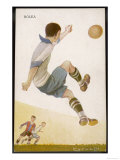 Player Clears the Ball in an Acrobatic Manner Giclée-Druck
